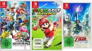 3 für 101€ (mit Newsletter) Nintendo Switch Spiele - z. B. Super Smash Bros. Ultimate + Mario Golf: Super Rush + Zelda Skyward Sword HD