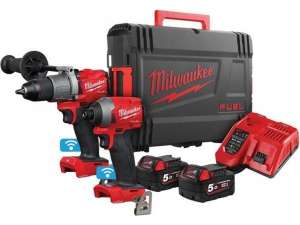 Milwaukee 18V-Elektrowerkzeug-Set M18ONEPP2A2-502X (Mit Schlagbohrschrauber und Schlagschrauber, 2x 5Ah-Akku, Ladegerät, HD-Box)