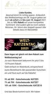 Katzenkontor.de: bis zu 10%-Gutschein für Katzenfutter und Katzenspielzeug