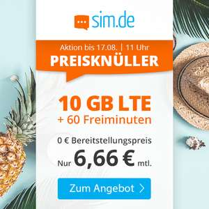 10GB LTE sim.de Tarif für mtl. 6,66€ (60 Freiminuten, VoLTE, WLAN Call, 3 Monate Kündigungsfrist) im Telefonica-Netz