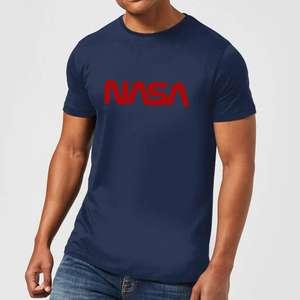 NASA Worm Rot Logotype T-Shirt in Navy Blau (Gr. S - XXL, für Damen und Herren)