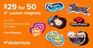 50 individuelle Magnete für 1.720,35 ARS (ca. 15,13€) - 76mm x 76mm (Stickermule)