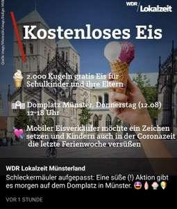 Kostenloses Eis für Schulkinder und ihre Eltern in Münster