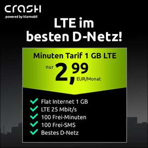 [Telekom-Netz] 1GB LTE Crash Tarif für mtl. 2,99€ mit 100 Freiminuten & SMS, VoLTE, WLAN Call und bei 25 Mbit/s