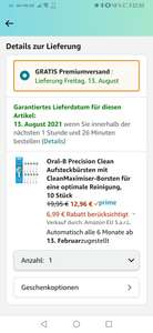[Prime Spar-Abo - Personalisiert] 10 Stück Oral-B Precision Clean CleanMaximiser-Borsten