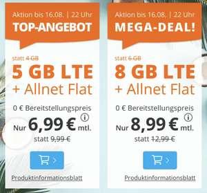 (Sim.de) All-Net-Flat 5GB für 6,99€ / 8GB für 8,99 inkl. EU-Flat