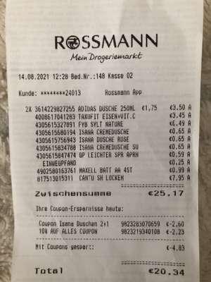 Rossmann Gutscheinfehler - 2+1 Duschgel mit Gewinn