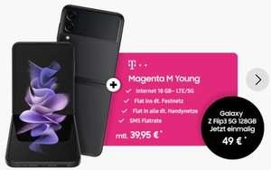 [Young MagentaEINS] Samsung Galaxy Z Flip3 5G 256GB im Telekom Magenta Mobil M Young (18GB 5G) mtl. 34,95€ bzw. 44,95€ einm. 39,95€ + 49,00€