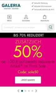 50% Rabatt auf reduzierte Kleidung und mehr bei Galeria ab 100€ Bestellwert