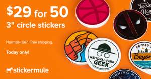 50 gestaltbare runde Sticker für 1.722 ARS (ca. 15,07€) - 76mm x 76mm (Stickermule)