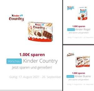 Vorschau Scondoo App ab dem 17.08.2021 Kinder Country, Kinder Bueno und Kinder Riegel jeweils 1€ Cashback