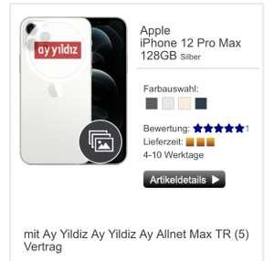 Apple iPhone 12 Pro Max (128GB) für 1€ Zuzahlung mit Ay Yildiz Vertrag (24GB LTE, Türkei Flat, Telefonica-Netz) für mtl. 39,99€