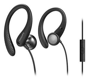 [Prime oder MM] Philips Sportkopfhörer A1105BK/00 mit Mikrofon, In Ear Kopfhörer (Flexible Ohrbügel, Bass-Beat-Öffnung, IPX2)