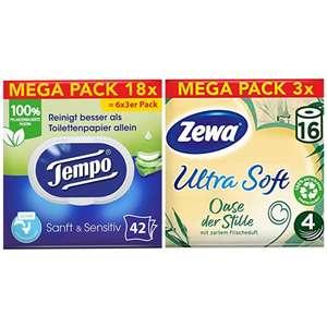 3x16er Pack Zewa Toilettenpapier 4-lagig 150 Blatt oder 3x6er Pack Tempo Feuchtes Toilettenpapier à 42 Blatt - Prime*Sparabo*