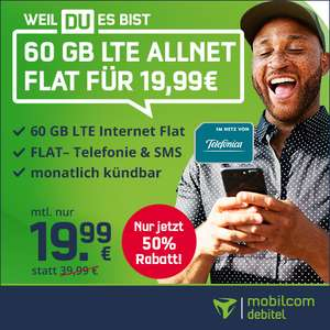 [mtl. kündbar] 60GB LTE (225 Mbit/s) mobilcom-debitel Telefonica Tarif für mtl. 19,99€ inkl. Allnet- & SMS-Flat, VoLTE + WLAN Call