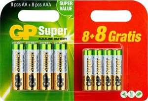 Alkaline Super AA - 8 Batterien + 8 Stück AAA [Otto Up]
