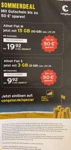 Congstar (Telekom-Netz) Allnet Flat M für monatl. 18€ 15 GB Allnet Flat S für monatl. 9,92€ 3 GB, mit VoLTE und WLAN Call