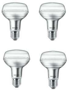 4x Philips LED Reflektor E27 (4W = 60W, 345lm, R80, 2700K warmweiß, CRI 80)