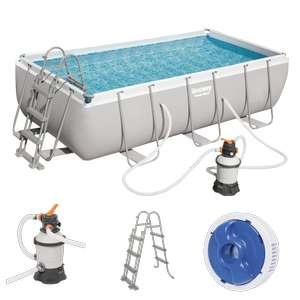 Bestway Power Steel Frame Pool-Set 404 x 201 x 100 cm mit Sandfilteranlage [PrimaDu & ManoMano]