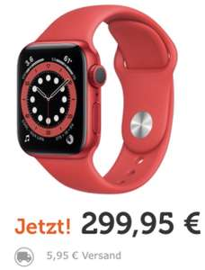 Apple Watch Series 6 GPS 40mm mit Sportarmband rot für 305,90€ inkl. Versandkosten