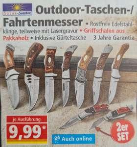 2er Set Outdoor-Taschen-/Fahrtenmesser inklusive Gürteltasche für 9,99€ und Hämmer mit Hickory-Holzstiel für je 6,99€ ab 30.08 Norma
