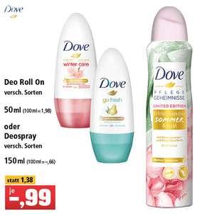 Dove Deospray oder Deo Roll On versch. Sorten für je 0,99€ bei Thomas Philipps
