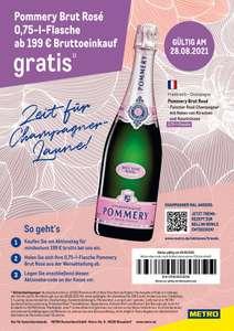 [Metro 28.08.] Pommery Brut Rosé 0,75l Flasche ab 199€ Brutto Einkaufswert Gratis