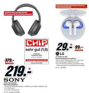 [Regional Mediamarkt Mainz] Sony WH-1000XM4 (ANC), Kopfhörer, Schwarz für 219,-€ // LG TONE Free FN6 Kabellose Kopfhörer für 29,-€