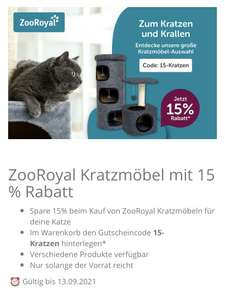 15% Rabatt auf Kratzmöbel von ZooRoyal