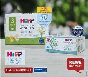 [REWE] HiPP Windeln für eff. 0,99 Euro/Packung durch Payback 50EXTRA °P auf alle HiPP Windeln und Feuchttücher und zwei 2 € Coupons