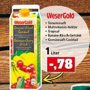 WeserGold Saft/Getränk 1000ml Tetrapak (78 Cent/l) vers. Sorten: Tomate, Tropical, KiBa, Gemüse, Multivitamin.