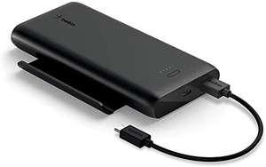 Belkin Powerbank 10.000 mAh mit Smartphone-Halterung zum Gamen und Streamen / Ausgänge: USB Typ-A, USB Typ-C / 2 Geräte gleichzeitig laden