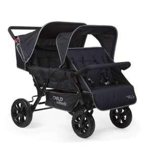 CHILDHOME Two by Two Sportwagen Vierlingswagen für 499€ (Platz für 4 Kinder, Belastbarkeit: Pro Sitz max 15kg, 5-Punkt-Sicherheitsgurt)