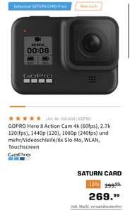 [Saturncard] GOPRO Hero 8 Action Cam für 259,99 € mit Saturncard-Rabatt und NL-Gutschein