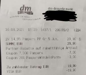 [Mein DM App, personalisiert] Pampers 7€ & 20% Coupon kombinierbar, z.B. 104x Premium Protection 5 für 19,90€ statt 29,90€