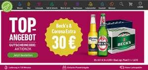 Bier Angebot: Kasten Corona Extra Lager 24x0,355l + Kasten Beck's Pils 20x0,5l inklusive Lieferung für 30€ bei Flaschenpost