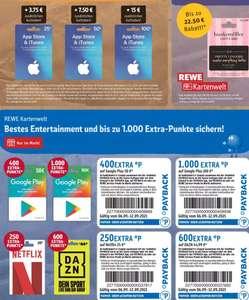 15% Extra-Apple-Guthaben & 15% Rabatt auf Hunkemöller   offline: bis 1.000 extra Payback-Punkte auf Google Play, DAZN (600), Netflix (250)
