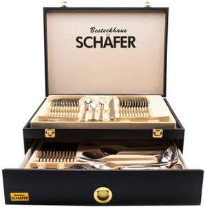 """Schäfer Besteckset """"Mirror+Gold"""" im Holzkoffer (72-teilig, 18/10-Edelstahl, spülmaschinengeeignet)"""