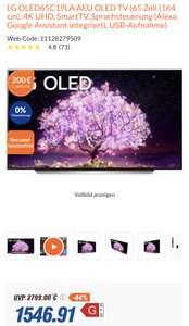 LG 65 C1 OLED TV abzüglich Cashback für effektiv 1.346,91 Euro (OLED65C19LA.AEU)
