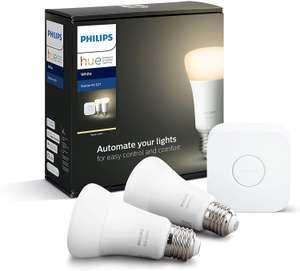 Philips Hue Starter Kit E27 White - 2x LED Lampe + Bridge (Bluetooth, Zigbee, warmweißes Licht, 2.700 Kelvin, 806 lm, dimmbar)