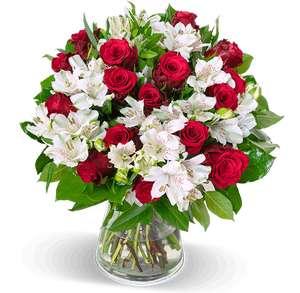 Liebesgruß Blumenstrauß aus Rosen, weißen Inkalilien und Schnittgrün (35 Stiele) bis zu 150 Blüten