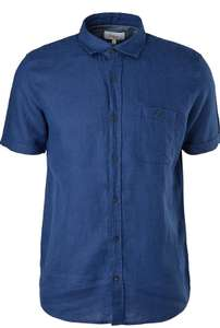 [Prime] 100% Leinen Kurzarmhemd von S. Oliver in weiß und dunkelblau - nur noch Größe S