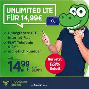 [mtl. kündbar] mobilcom-debitel o2 Free Unlimited Smart (unbegrenzt LTE 10 Mbit/s) für mtl. 14,99€ mit Allnet- & SMS-Flat, VoLTE & WLAN Call