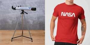 NASA Bundle: T-Shirt (2 verschiedene, Gr. XS - XXL + Kindergrößen) & NASA NASATLSCP Teleskop