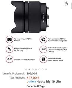 Samyang AF 12mm F2.0 für Sony E-Mount