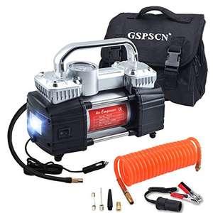 Preisfehler GSPSCN 12V Luftkompressor , tragbarer Doppelzylinder-Reifenfüller für Autos 150PSI Kompressor mit LED Licht