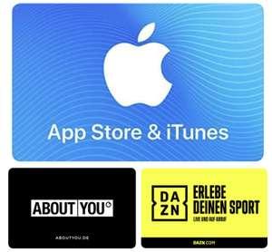 Amazon: 15% Bonus-Guthaben auf App-Store & iTunes Geschenkkarten ab 25€ / 15% Rabatt auf About You / 17% Rabatt auf DAZN Guthabenkarte