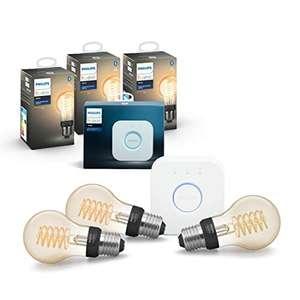 Philips Hue White Filament E27 LED Lampe 3-er Pack inkl. Hue Bridge