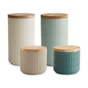 Springlane Keramik Vorratsdosen Set 4-teilig / 4 Farbvariationen (2x ca. 10,1 x 18,3 cm/max. 900 ml & 2x je ca. 10,1 x 9,3 cm/max. 380 ml)