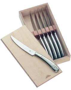 WMF Steakmesser Set 6-teilig, Cromargan Edelstahl poliert, Wellenschliff, spülmaschinengeeignet, Steakbesteck in Holzbox (Prime)